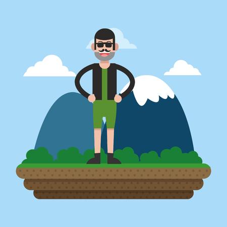 Mountaineering sport cartoon illustration
