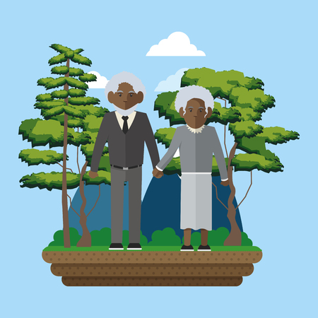 Couple of grandparent on the park illustration Illustration