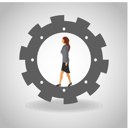 Business woman on gear vector illustration graphic design.
