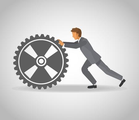 Businessman pushing gear vector illustration graphic design.