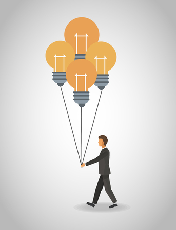 Businessman with bulb balloons vector illustration graphic design. Illustration