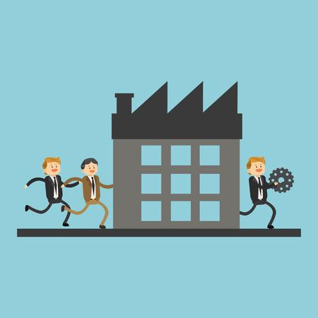 Business teamwork running to company vector illustration graphic design. Illustration