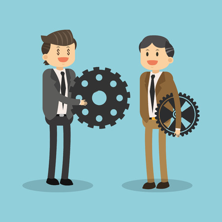 Business teamwork with gears vector illustration graphic design.