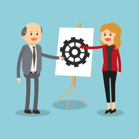 Business teamwork with gear vector illustration graphic design. Vector Illustration