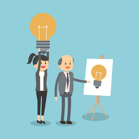 Business teamwork with ideas vector illustration graphic design.