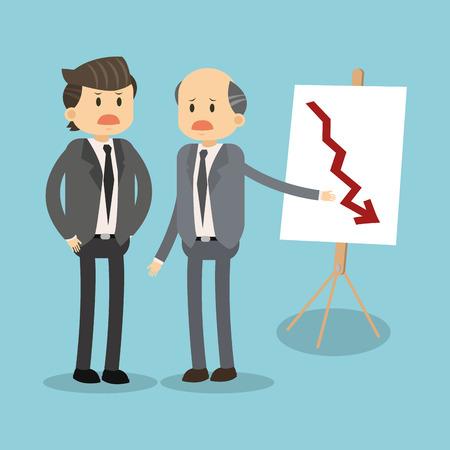 Business teamwork showing statistics decreasing vector illustration graphic design. Illustration