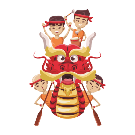 Chinese people on dragon boat icon vector illustration graphic design