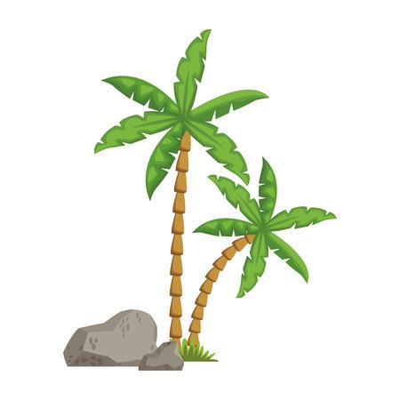 Tree palms with rocks icon vector illustration graphic design