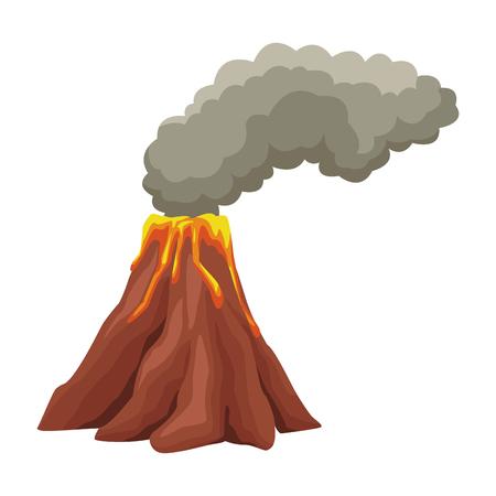 Vulcan with lava and smoke icon vector illustration graphic design Illustration