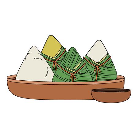 Dragon festival rice on dish icon vector illustration graphic design Stock Illustratie