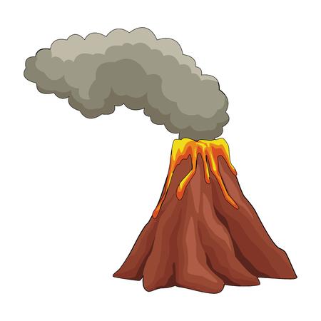 Vulcan with lava and smoke icon vector illustration graphic design. Illustration