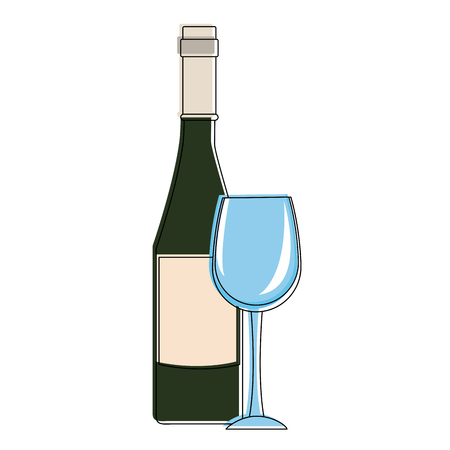 Champagne bottle and cup icon vector illustration graphic design