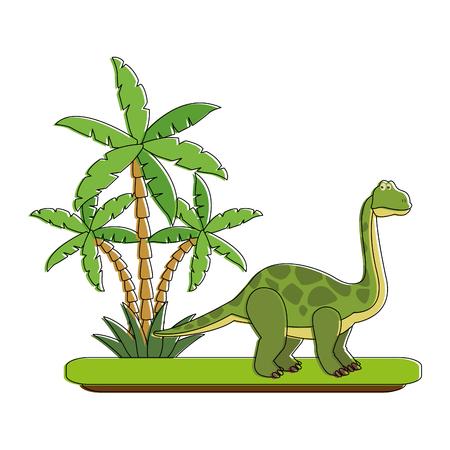 Big dinosaur on forest cartoon icon vector illustration graphic design Illustration