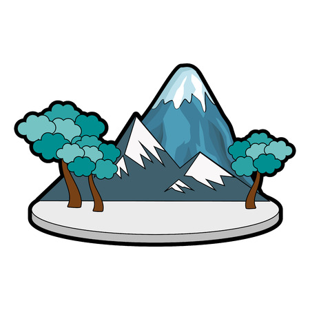 mountain with snowy and trees icon vector illustration graphic design Çizim