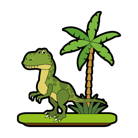 Velociraptor de dinosaurio en diseño gráfico del ejemplo del vector del icono de la historieta del bosque Foto de archivo - 96013339