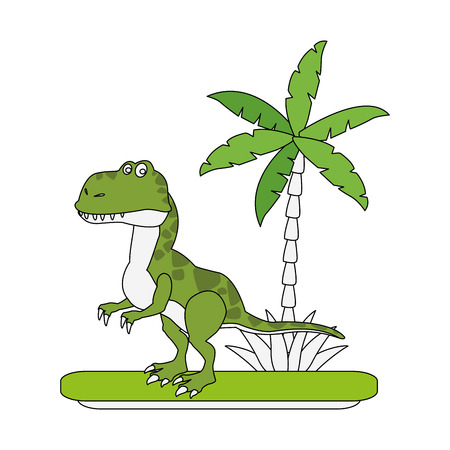 Trex dinosaur on forest cartoon icon vector illustration graphic design