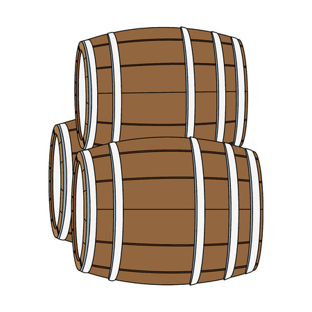 Wooden barrels isolated icon vector illustration graphic design