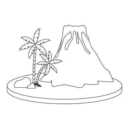 Volcano with lava icon vector illustration graphic design