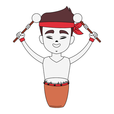 Chinese with drum and sticks cartoon icon vector illustration graphic design Illustration