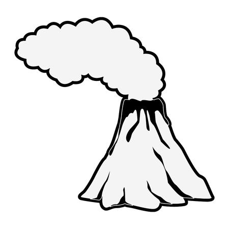 Vulcano with lava and smoke icon vector illustration graphic design