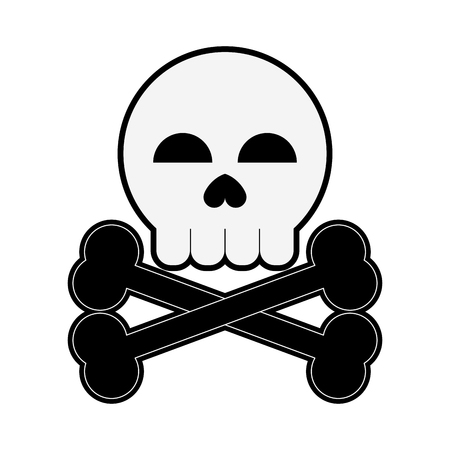 Skull with bones danger symbol icon vector illustration graphic design
