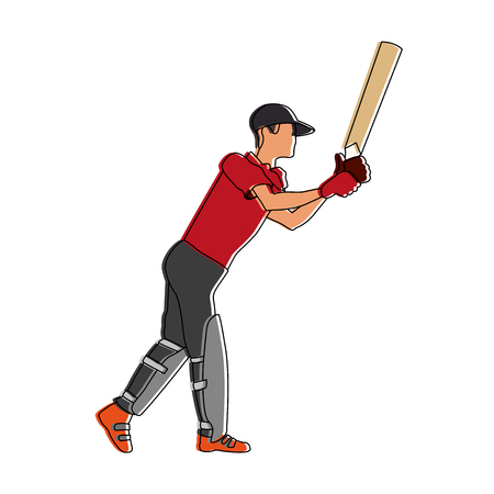 Cricket player with racket vector illustration graphic design Stock Illustratie