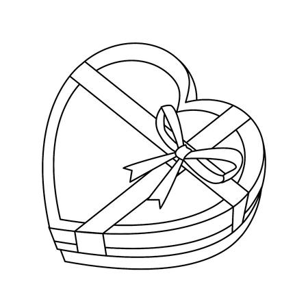 Gift box heart shaped vector illustration graphic design