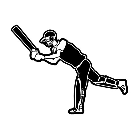 Cricket player with racket vector illustration graphic design 向量圖像