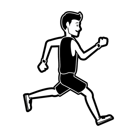 Fitness man running cartoon vector illustration graphic design
