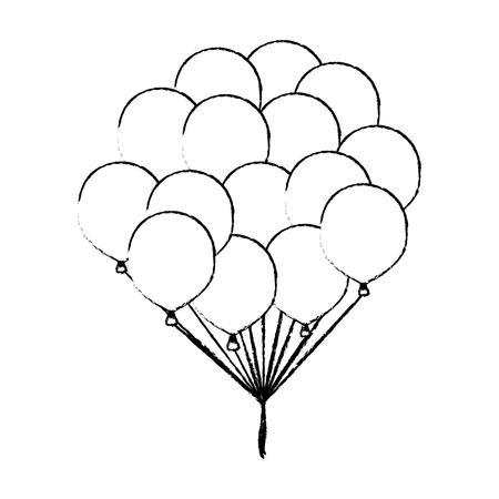 Balloons flying isolated vector illustration graphic design Ilustração