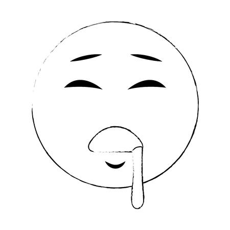 Emoji sleeping cartoon vector illustration graphic design Illustration