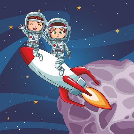 Astronaut kids on spaceship vector illustration graphic design