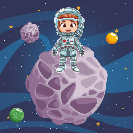 Boy astronaut in the space vector illustration graphic design