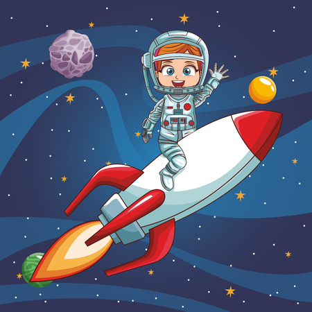 Girl astronaut flying on spaceship vector illustration graphic design