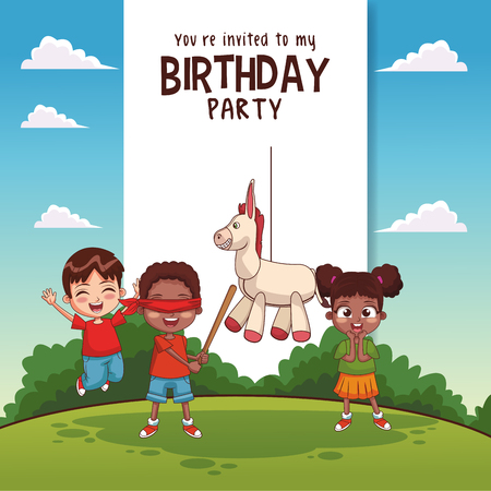 Kids birthday party card invitation vector illustration graphic design