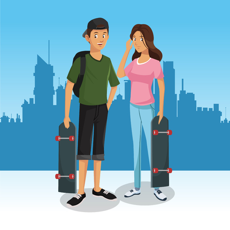 Skaters in the city cartoon vector illustration grapic design Vettoriali