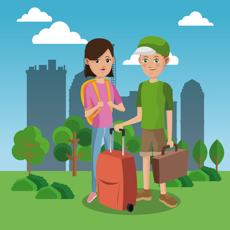 Tourists in the city cartoon vector illustration grapic design