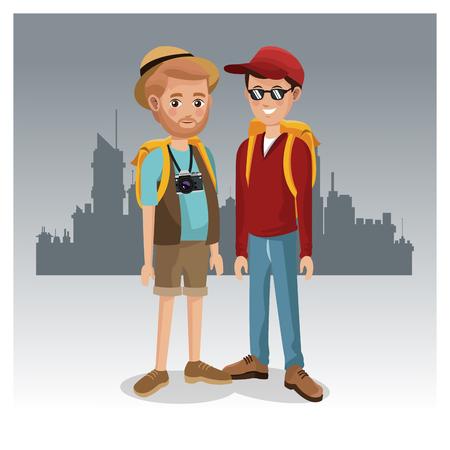Tourists in the city cartoon vector illustration graphic design Illustration