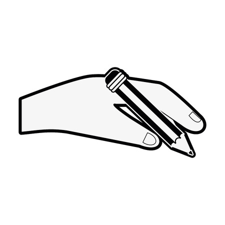 Hand holding pencil icon vector illustration graphic design