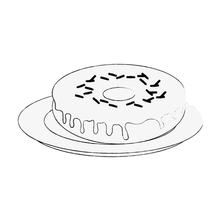 Sweet donut on dish icon vector illustration graphic design