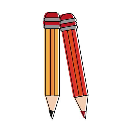 Wooden pencils isolated icon vector illustration graphic design Illustration
