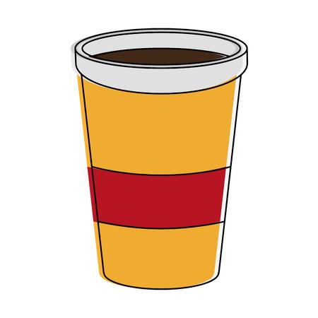 Soda in plastic cup icon vector illustration graphic design