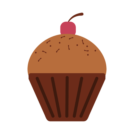 A muffin with cherry pastry icon image vector illustration design