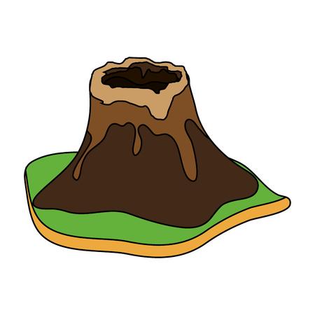 Volcan entouré par pelouse image icône vecteur illustration conception Banque d'images - 96042762