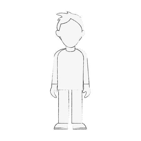 Young man avatar full body icon image vector illustration