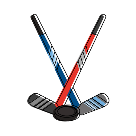 hockey sticks with puck  winter sports related icon image vector illustration design