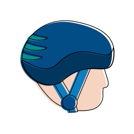 sports helmet on avatar head icon image vector illustration design