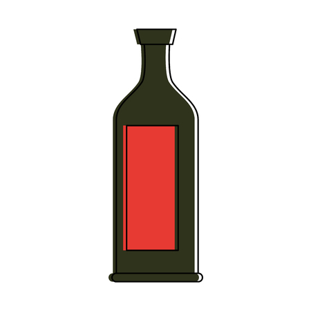 liquor bottle with blank label icon image vector illustration design  矢量图像