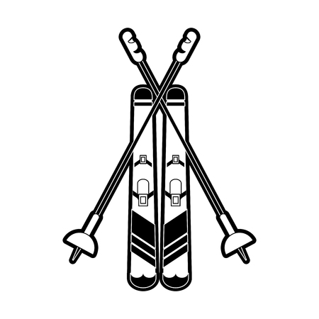 ski with poles winter sports related icon image vector illustration design black and white