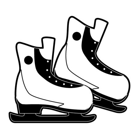 ice skates winter sports related icon image vector illustration design  black and white
